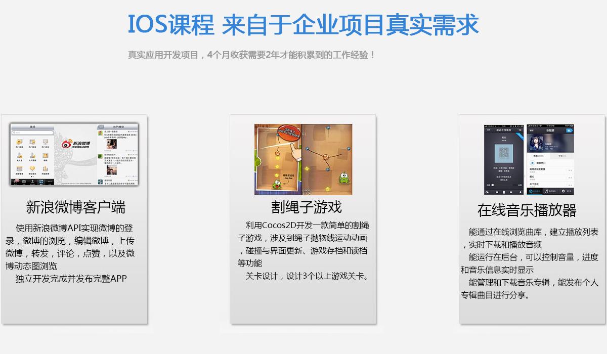 全真实训项目三:棋牌类游戏是iOS平台上五大类型游戏之一。K-Othello以流行的关卡设计,从易到难的计算机算法,人机对战模式和网络对战模式切换,漂亮的界面,非常好的可玩性,会吸引大量的棋迷参战。手机阅读器是任何一台iOS设备必备的工具软件。现在,阅读器的功能越来越强大,越来越方便。K-Reader应该是一款值得你骄傲的产品。照片处理是iOS平台最常见的工具之一。提供一款使用方便,功能独特,个性十足的照片处理软件,是大家所期待的。K-PhotoMaven 不仅具备大部分照片处理软件所具有的功能,还具备生